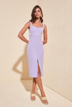 TRENDYOLMİLLA Lila Yırtmaçlı Elbise TWOSS19BB0216 0