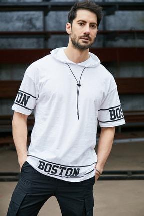 Sateen Men Erkek Beyaz Kapüşonlu  B Yaka T-Shirt 1