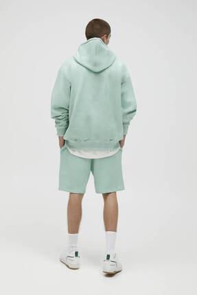 Pull & Bear Erkek Yeşil Basic Renkli Kapüşonlu Sweatshirt 3