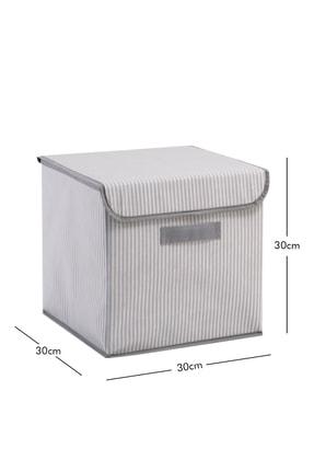 Ocean Home Gri Çizgi Desenli Kapaklı Kutu // 30x30x30 2