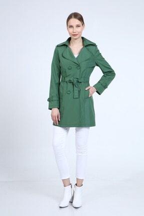 Kadın Yeşil Kruvaze Yaka Trençkot 20S-Trençkot