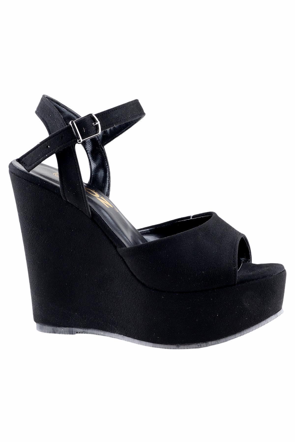 Föz Siyah Kadın Dolgu Topuklu Ayakkabı OZ00666