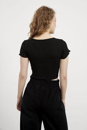 Arma Life Kadın Siyah V Yaka Düğmeli Fırfırlı Bluz 4