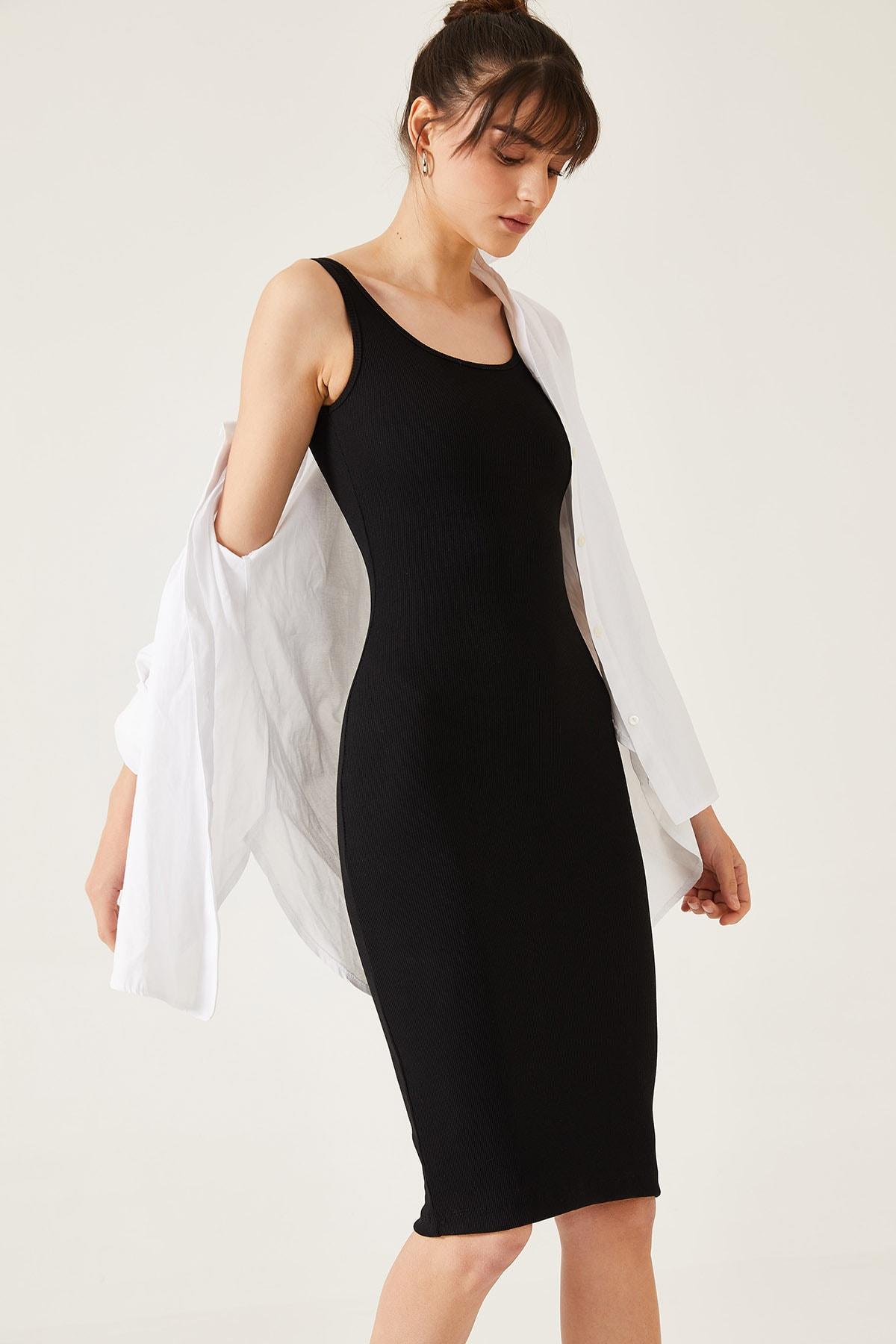 Kadın Kalın Askılı Kaşkorse Uzun Elbise