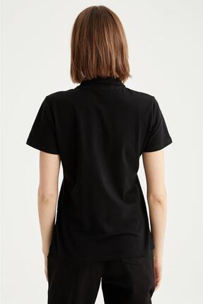 Defacto Kadın Siyah Basic Polo Yaka Tişört 2