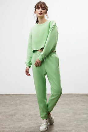 GRIMELANGE CLEMENTINE Kadın Yeşil Renk Yuvarlak Yaka Eşofman Takımı 4