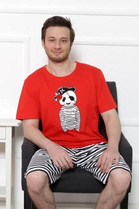 GAZZAZ Erkek Kırmızı Kısa Kol Normal Beden Şort Takım 1
