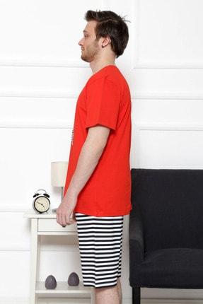 GAZZAZ Erkek Kırmızı Kısa Kol Normal Beden Şort Takım 2
