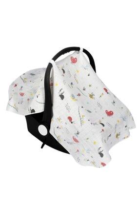 Sevi Bebe Unisex Bebek Desenli Müslin Puset ve Ana Kucağı Örtüsü Art-41 1