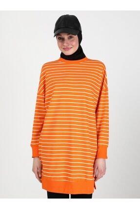 Soul Kadın Turuncu Çizgili Sweatshirt 0