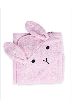 Cigit Kulaklı Tavşan Nakışlı Bebek Banyo Havlusu 75x75 Cm Pudra Pembe 0