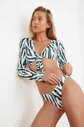 TRENDYOLMİLLA Renkli Zebra Desenli V Kesim Bikini Altı TBESS20BA0012 2