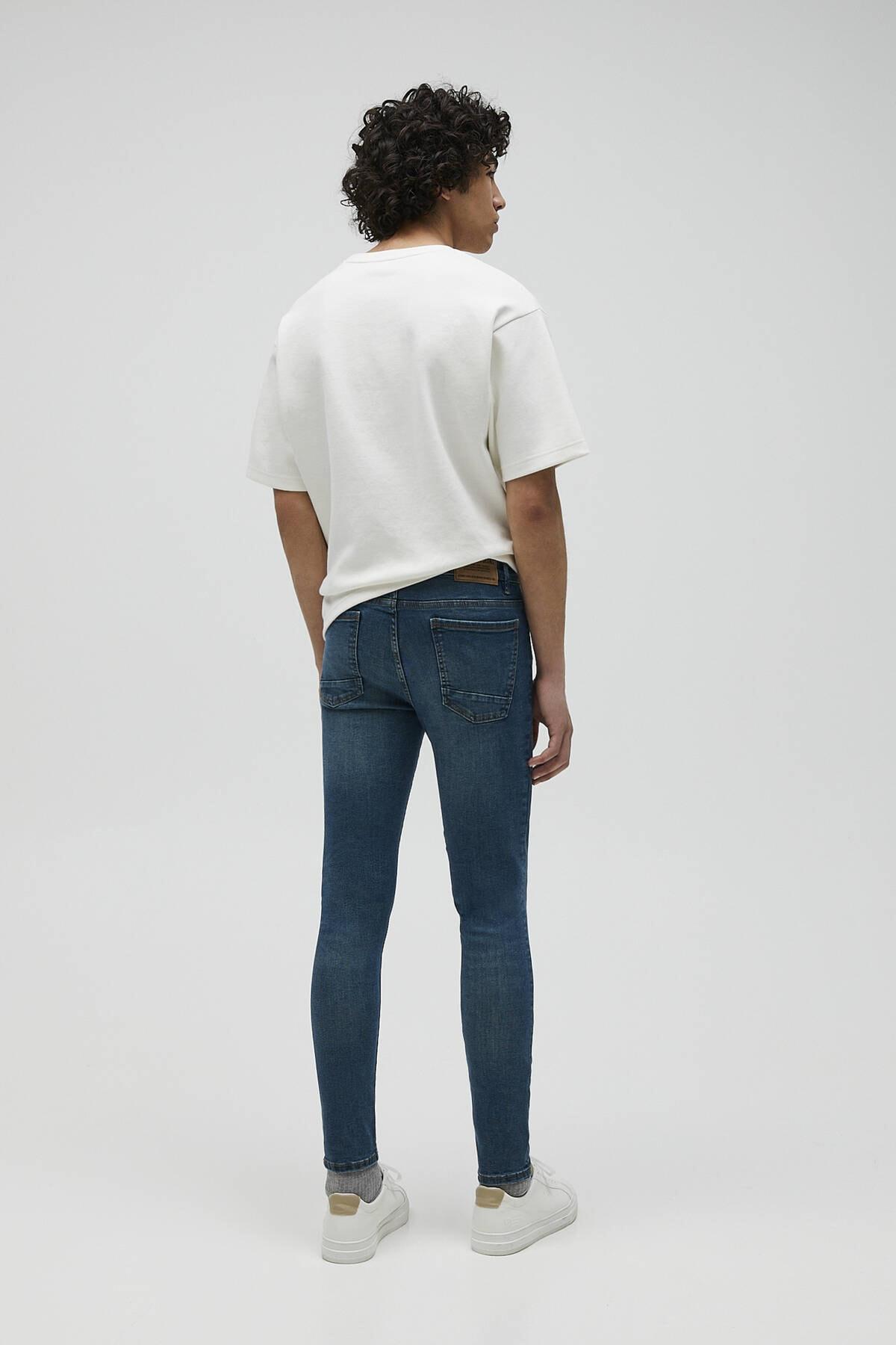 Pull & Bear Erkek Mavi Basic Super Skinny Fit Jean 04681520 3