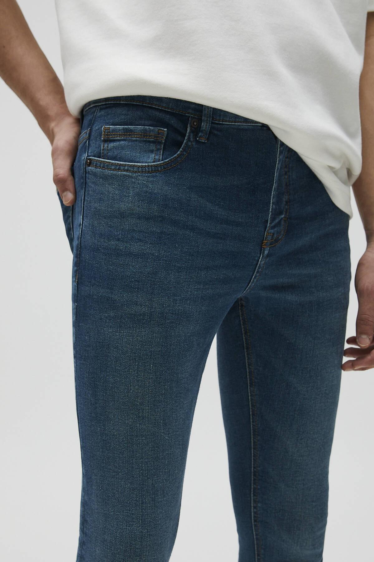 Pull & Bear Erkek Mavi Basic Super Skinny Fit Jean 04681520 4