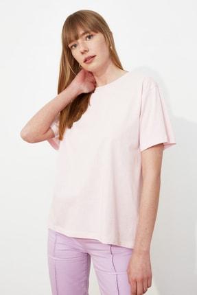 TRENDYOLMİLLA Pudra Nakışlı Boyfriend Örme T-Shirt TWOSS20TS0307 2