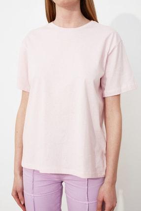 TRENDYOLMİLLA Pudra Nakışlı Boyfriend Örme T-Shirt TWOSS20TS0307 3