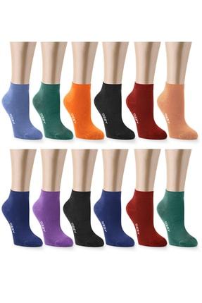 Ozzy Socks Kadın 12 Çift Bambu Dikişsiz Patik Çorap 4 Mevsim Dayanıklı Topuk Ve Burun Koyu Renkler 1