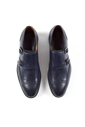 Hemington Erkek Tokalı El Yapımı Lacivert Deri Ayakkabı 1