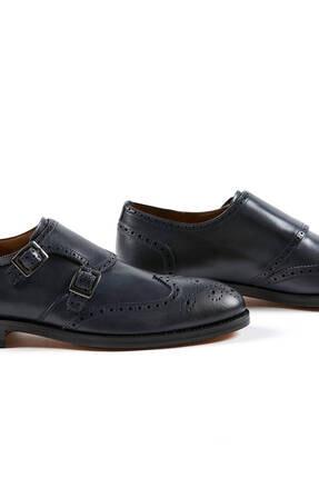 Hemington Erkek Tokalı El Yapımı Lacivert Deri Ayakkabı 4