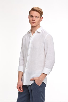 Hemington Beyaz Saf Keten Gömlek 1