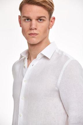 Hemington Beyaz Saf Keten Gömlek 4
