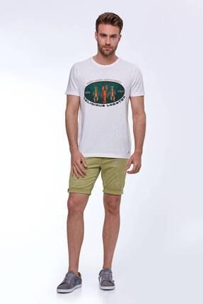 Hemington Erkek Baskılı Beyaz Pamuk T-shirt 1