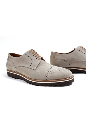 Hemington Erkek  El Yapımı Bej Yazlık Süet Deri Ayakkabı 2