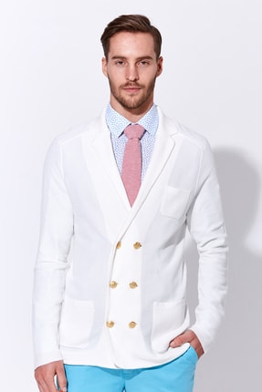 Hemington Erkek Giza Pamuk Beyaz Triko Kruvaze Ceket 0
