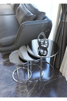 Pukka Sehpa Gümüş Zigon Sehpa (Füme Ayna) 1