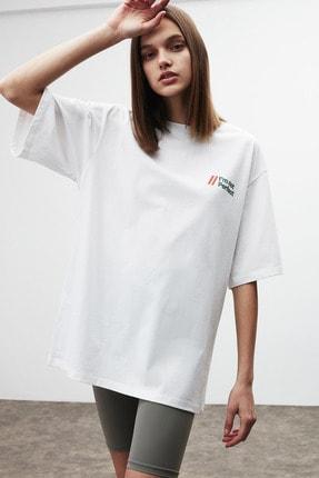 GRIMELANGE LOURDES Kadın Beyaz Önü ve Arkası Baskılı T-Shirt 1