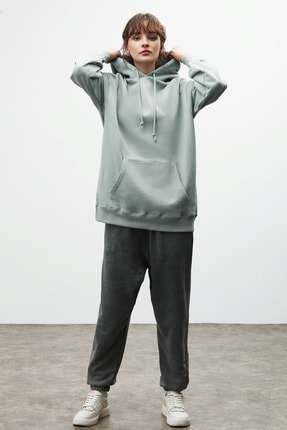 GRIMELANGE FRIDA Kadın Mint Oversize Kapüşonlu Sweatshirt 2