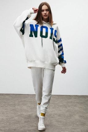 GRIMELANGE TINA Kadın Beyaz Önü Baskılı Extra Oversize Kapüşonlu Sweatshirt 0