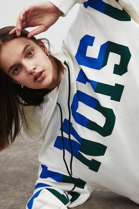 GRIMELANGE TINA Kadın Beyaz Önü Baskılı Extra Oversize Kapüşonlu Sweatshirt 2