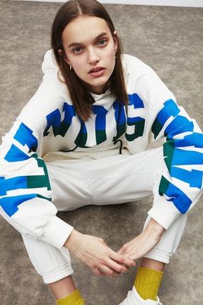 GRIMELANGE TINA Kadın Beyaz Önü Baskılı Extra Oversize Kapüşonlu Sweatshirt 3