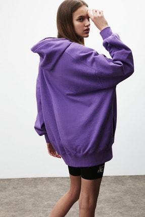 GRIMELANGE VIENNA Kadın Mor Ekstra Oversize Yan Cepli Kapüşonlu Sweatshirt 4