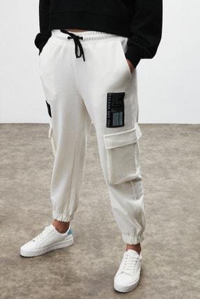 GRIMELANGE DIXIE Kadın Beyaz Beli ve Paçası Lastikli Kargo Cepli Pantolon 0