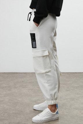 GRIMELANGE DIXIE Kadın Beyaz Beli ve Paçası Lastikli Kargo Cepli Pantolon 3
