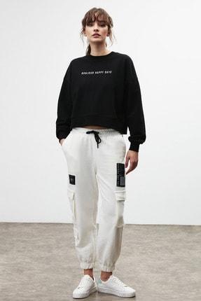 GRIMELANGE DIXIE Kadın Beyaz Beli ve Paçası Lastikli Kargo Cepli Pantolon 4
