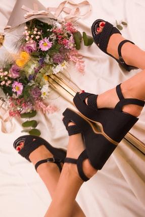 Soho Exclusive Siyah Süet Kadın Dolgu Topuklu Ayakkabı 15938 1