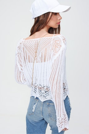 Trend Alaçatı Stili Kadın Beyaz V Yaka Ajurlu Crop Bluz ALC-X5913 3