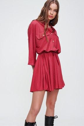 Trend Alaçatı Stili Kadın Kırmızı Safari Dokuma Elbise ALC-X5440 0