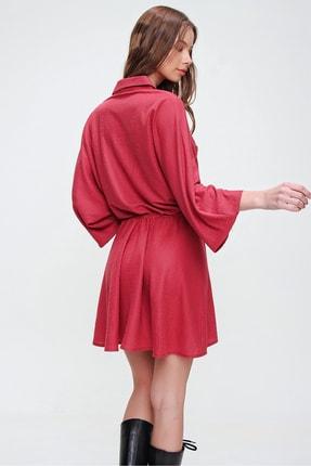 Trend Alaçatı Stili Kadın Kırmızı Safari Dokuma Elbise ALC-X5440 4