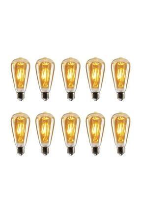EDİSON St64 Flamanlı Rustik 4w Led Ampul 10'lu Dekoratif Vintage Aydınlatma Amber Rengi 0