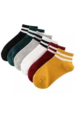 BGK Unisex 6 Çift Koton Çizgili Patik Çorap Extra Soft 2