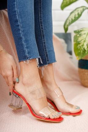 Moda Değirmeni Kadın Kırmızı Şeffaf  Şeffaf Topuklu Ayakkabı Md1050-119-0001 0