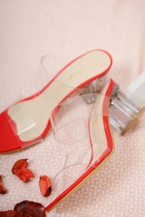 Moda Değirmeni Kadın Kırmızı Şeffaf  Şeffaf Topuklu Ayakkabı Md1050-119-0001 1
