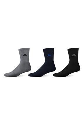 Kappa Erkek Laci Gri Siyah Kısa Konç Çorap 3'lü Paket 0