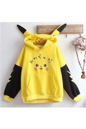 Trend Sizde Kadın Sarı Pikachu Sweatshirt 0