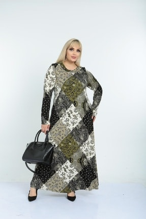 Şirin Butik Kadın Haki Yaka Pervazlı Viskon Elbise 0