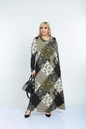 Şirin Butik Kadın Haki Yaka Pervazlı Viskon Elbise 1